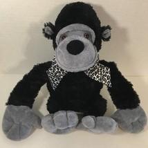 Animal Adventure Gorilla black gray plush leopard print bow ribbon 2005 monkey - $9.89