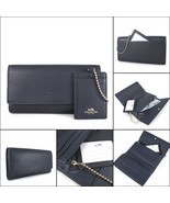 Coach F53708 Pebbled Leather Trifold Wallet with ID Pouch Midnight NWT $250 - $98.99