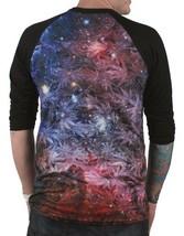 DNA Weed Marijuana Plant Space Galaxy Sublimation 3/4 Sleeve Raglan Shirt NWT image 2
