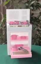 Vintage Barbie Mattel 1992 White/Pink Oven Stove Kitchen w/Pots, Pans & ... - $9.99