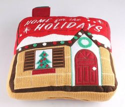 """Home For The Holiday's Wondershop 12"""" Red Accent Pillow Christmas House NWT image 3"""