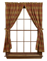 Olivia's Heartland rustic lodge cabin Cinnamon plaid fabric Panel curtains 72x63 - $58.95