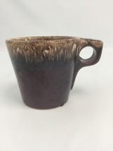 Hull Brown Drip Glaze Pottery Oven Proof Coffee Tea Mug Cup USA Heavy Duty - $15.67
