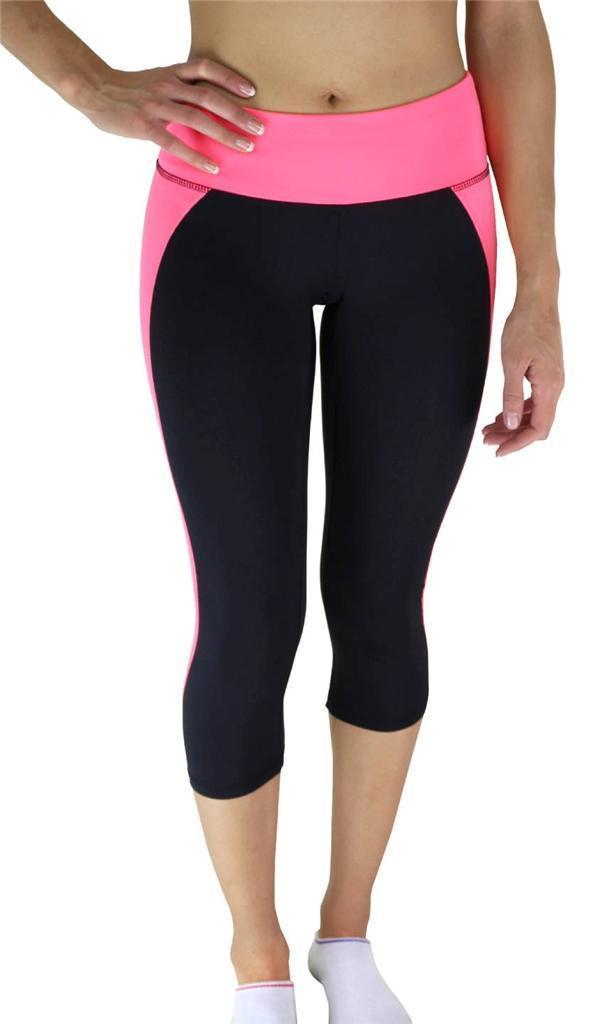 NEW W SPORT WOMEN'S ATHLETIC GYM WORKOUT CAPRI LEGGINGS BLACK/LIGHT PINK AP4831