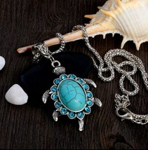 Turquoise Turtle Pendant Necklace  With Chain, Antique Silver Vintage Style - $3.99