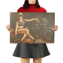 Beauty Motorcycle Girl Nostalgia Photo Painting Poster Classic Movie Wall Decor - $4.89