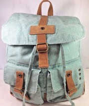 Light Blue Green Drawstring Backpack Duffle Bag Pockets Faux Camel Suede... - $18.37