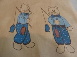 "Cat Doll Printed Panel to Make 22""  Cat Fishin' Stuffed Cat Boy Fabric P... - $9.89"