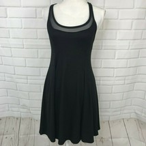 Forever 21 Black Dress Sleeveless Racerback Mesh Ribbed Flare Stretch Wo... - $17.77