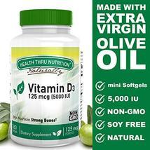 Vitamin D3 5000 IU, Non-GMO, 360 Mini Softgels, Soy Free, USP Grade Natural Vita image 2