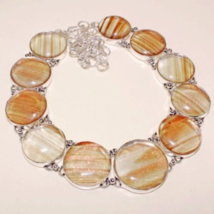 Very Beautiful Copper and Clear Glass Necklace, 925 Silver Overlay, Hand... - $56.00