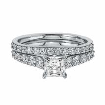2CT D/VVS1 Diamond Bridal Wedding Ring Set Silver 925 14K White Gold Fin... - $120.00