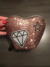 NWT Victoria's Secret Pink Sequin Glitter Mesh Heart Bag Cosmetic Case Pouch - $17.99