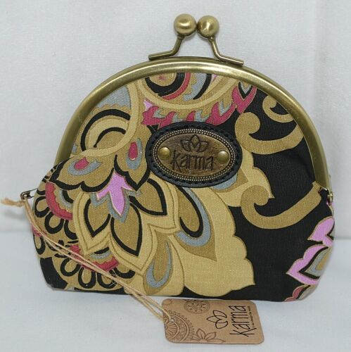 Karma Brand KA110320 Black Gold Color Floral Lock Coin Purse With Card Slots
