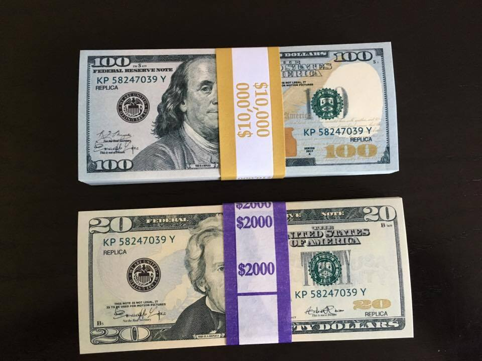 Primary image for 12.000 PROP MONEY REPLICA 100s 20s New Style All full Print For movie Video Etc.