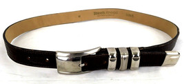 """Streets Ahead Belt Brown Leather Silver-Tone Buckle Womens Med 27-31"""" - $17.79"""