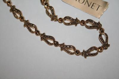"Monet Gold Tone Sparkling Light Topaz 18"" Link  Necklace  NEW  J278"