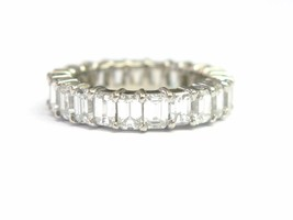 NATURAL Emerald Diamond Shared Prong Eternity Band Ring White Gold 5.00C... - $5,890.50