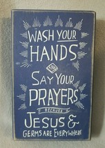Primitive by Kathy Navy Blue Box Sign Wash Your Hands Prayers Germs Everywhere - $14.54