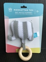 Knit Elephant Rattle & Teether Gray Manhattan Toy Co. NEW Ages 0+       ... - $6.99