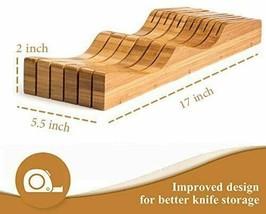 Bambusi In-Drawer Knife Block - 100% Natural Bamboo Knife Storage Organizer image 2