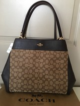 NWT COACH %Authentic Lexy Signature Outline Fabric Leather Shoulder Bag ... - $149.99