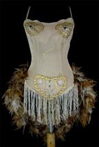 Natural Chinchilla Feather Moulin Burlesque Ballroom Dance Costume - $139.99