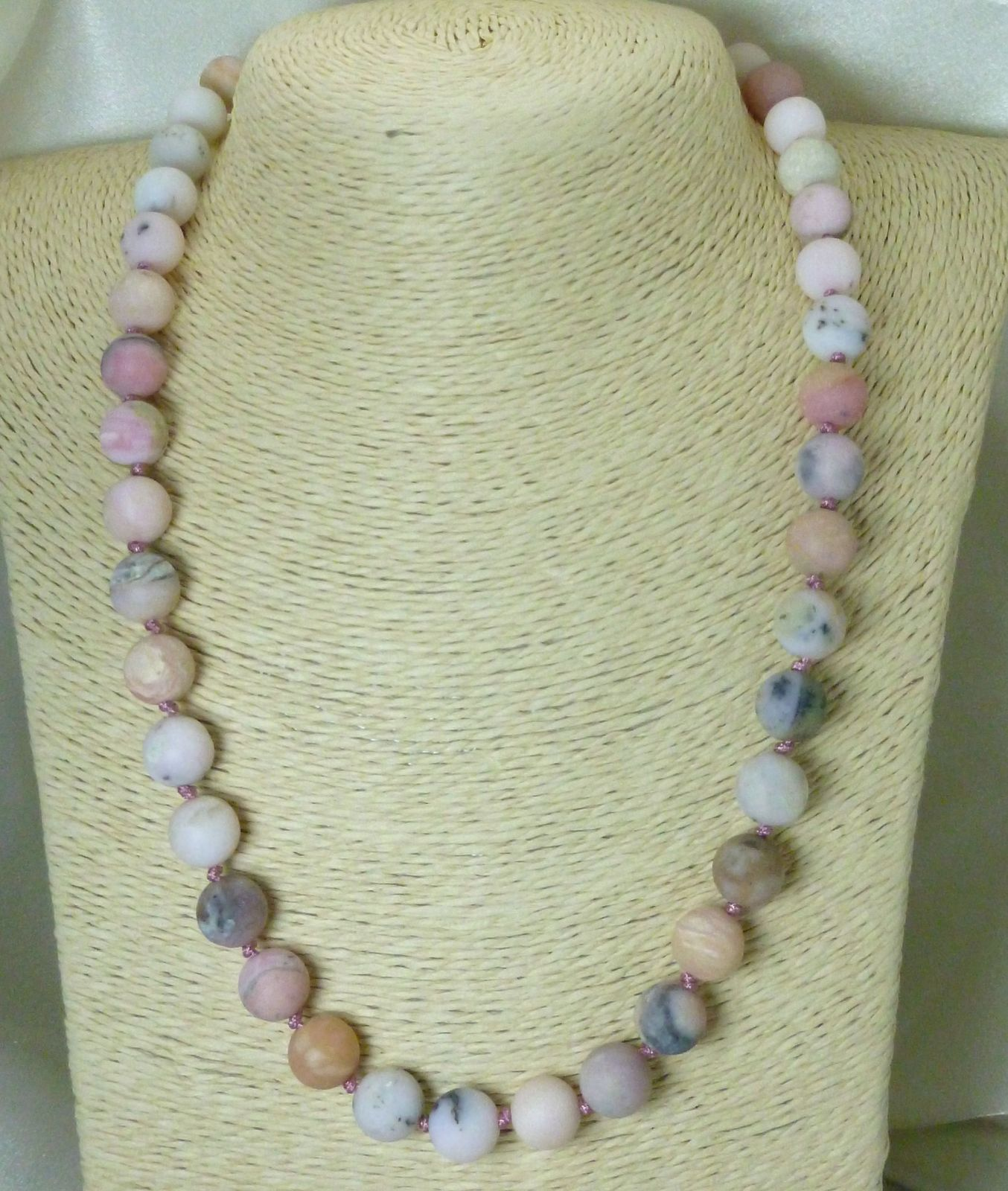 Matte Pink Opal Natural Gemstones Round Beaded Necklace 20.5""