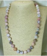 "Matte Pink Opal Natural Gemstones Round Beaded Necklace 20.5"" - $53.00"