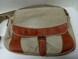 LL BEAN Canvas Leather Crossbody Saddle Messenger Travel Bag Khaki Green... - $41.96 CAD