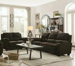 Transitional Plush 2-Piece Sofa Set Couch & Loveseat, Brown Chevron Velv... - $1,614.99