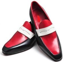 Two Tone Handmade Apron Toe Genuine Vintage Leather Stylish Men Moccasin Shoes - $119.99+