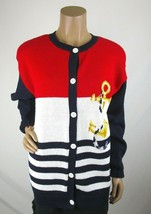 Birch Bros By the Eagles Eye Cardigan Size L Sweater Anchor Rope Red Blu... - $56.99