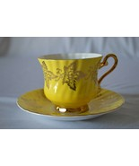 H & M Sutherland Bone China England Tea Cup & Saucer Yellow Gold Leaf - $34.65