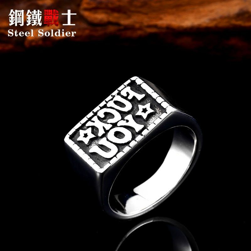 Primary image for drop ship men stainless steel ring personality exquisite 3D letter design trendy