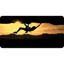 rock climber silhouette sunset nature license plate made in usa - $28.49