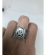 Vintage Mens Skull Ring Southwestern Black Inlay White Bronze Size 9.25 - $34.65