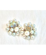 Retro Grey Beaded Clip On Earrings - $4.00