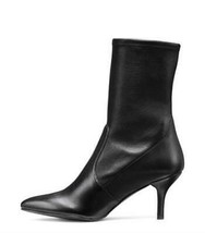 Stuart Weitzman Cling Sock Mid Calf Bootie Boots In Black Leather 11 - $211.59