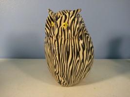 Owl Figurine Zebra Striped Yellow Eyes Weird Ceramic - $5.42