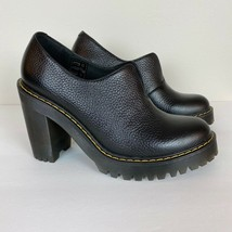 Dr. Martens Womens Cordelia Shoes Air Wair Block Heels Black Leather Sli... - $77.22