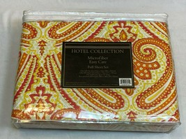 Hotel Collection Microfiber Easy Care Full Sheet Set NEW Red Orange Yellow Swirl - $29.99