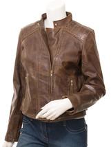 Women's Brown Leather Biker Jacket Dora - $134.00