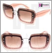MIU MIU REVEAL Sunglasses MU01RS Transparent Nude Pink Glitter Brown Mir... - $267.30