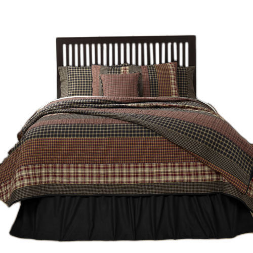 9-pc Queen - BECKHAM Quilt Rustic Country Set - Rust, Creme, Black - VHC Brands