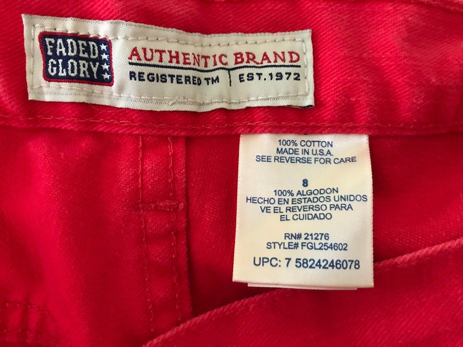 Three Women's Faded Glory Denim Shorts Size 8  Red, Beige, Olive