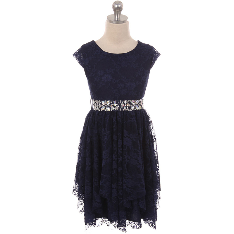 Primary image for Navy Blue Short Sleeve Floral Lace Asymmetric Ruffles Rhinestones Belt Dress