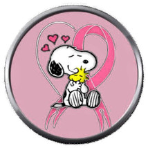Snoopy Woodstock Heart Cure Breast Cancer Pink Ribbon 18MM-20MM Snap Charm - $5.95