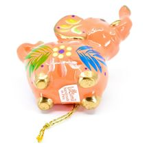 Handcrafted Painted Ceramic Peach Pink Elephant Confetti Ornament Made in Peru image 6