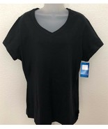 NWT CHAMPION Authentic Athletic Black V Neck Cotton T shirt sz XL - $9.89